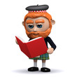 3d Scotsman reads a red book
