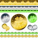 golden shamrock token coins set