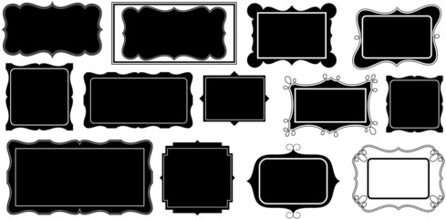 Black Shape Picture Frames Illustration
