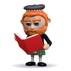 3d Scotsman reads a red book