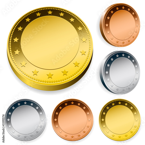 blank shiny token coins set with copyspace