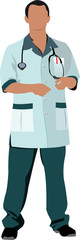 Nurse man with white doctor`s smock. Vector illustration