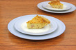 Servings of quiche lorraine on plates