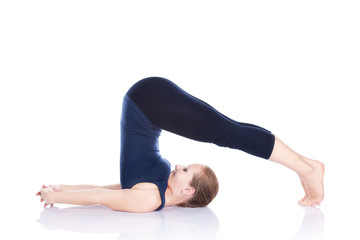 Yoga halasana plough pose