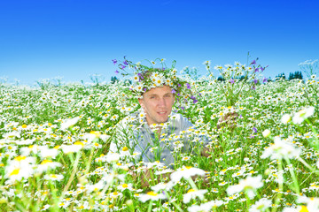 The man in a wreath from wild flowers in the field of camomiles