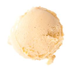Ein Kugel gelbes Vanilleeis von oben auf weiß