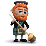 3d Scotsman sweeps with his broom
