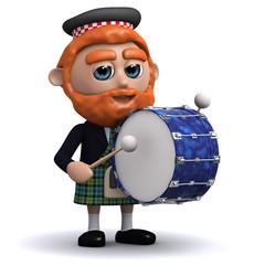 3d Scotsman plays a big bass drum