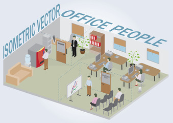 Isometric office with people.