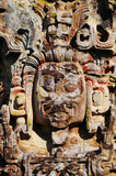 Sculptures in Archeological park in Copan ruinas poster