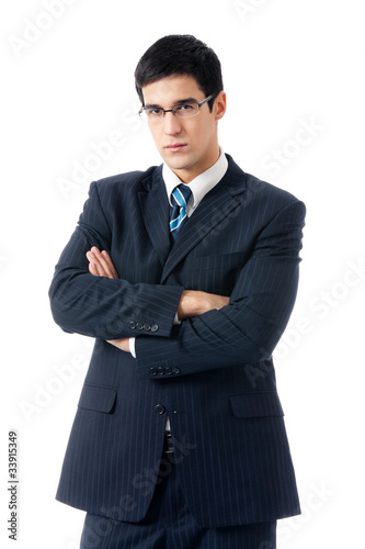 Portrait of happy smiling successful business man, isolated