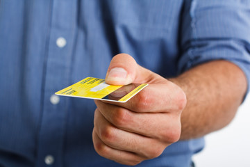 Man using a credit card