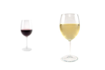 Glass of red and white wine on a white background