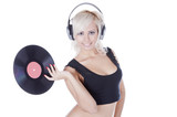 emotional blonde in headphones with vinyl record over white poster
