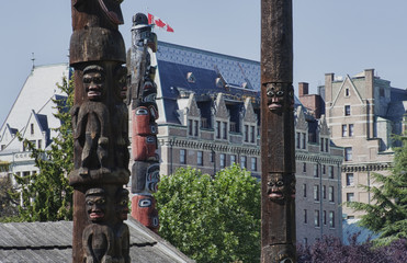 Totem Poles in front of the Fairmont Empress Hotel in Victoria,