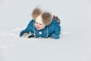 Playing in the snow field