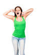 Woman in green top yawning and stretching herself