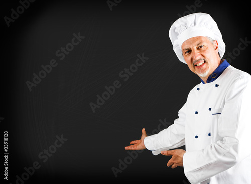Chef showing a blackboard
