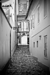 Old narrow street in Ljubljana, Slovenia