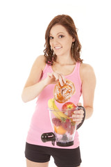 woman fruit blender doughnut smile