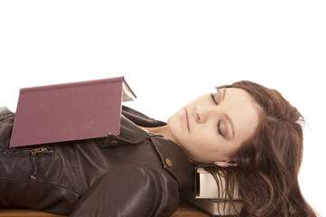woman asleep book on chest