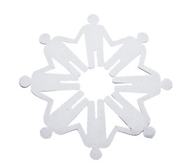 Paper Men stand in a circle and holding hands