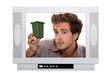 Man holding mini recycling bin inside television