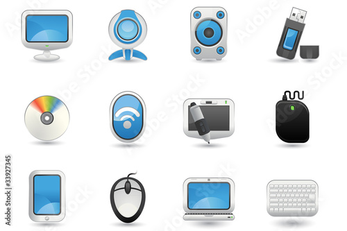 Illustration of Computer icon set