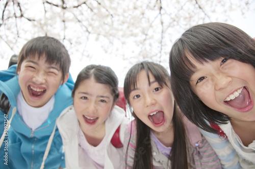 Leinwanddruck Bild 笑顔の小学生4人