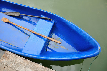 Blue Boat In Lake
