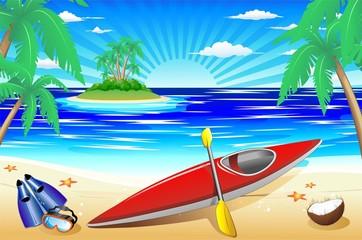 Canoa e Spiaggia Esotica-Kayak Canoe on Tropical Beach-Vector