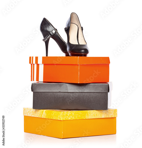 fashion shoes on the boxes