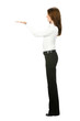 Full body of business woman showing, isolated on white