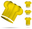 set of yellow chef's hat isolated on the white background