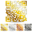 set of golden qr code isolated on white background