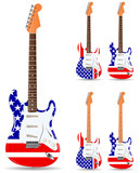 set of usa electric guitars isolated on white background