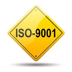 Señal amarilla texto ISO-9001