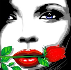 Viso Donna e Rosa Clip Art-Woman Girl's Face and Rose-Vector