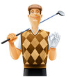 golf player with club and