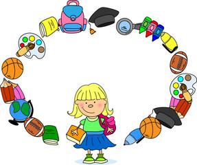 милая школьница, школа элементы