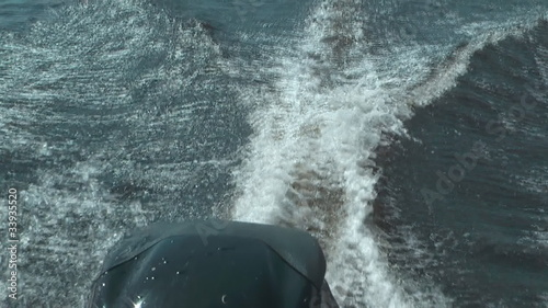 HD 1080 close up shot of motorboat wake.