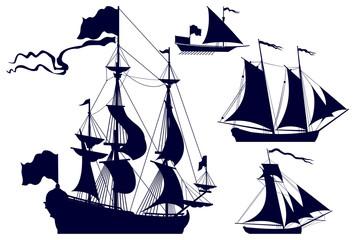Sailing Ships vector silhouettes