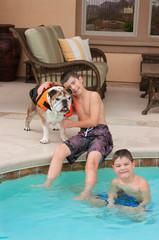 Kids and Bulldog