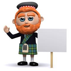 3d Scotsman has a placard