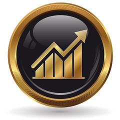 Erfolg - Diagramm - Button gold
