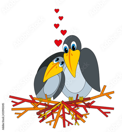 vector illustration: love raven and nest
