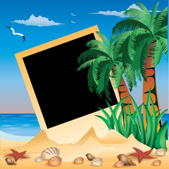 Tropical Photo frame, vector illustration