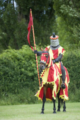 red knight standing
