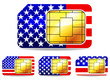 american sim card isolated on white background