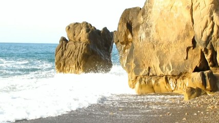 Stormy sea between the rocks # Video